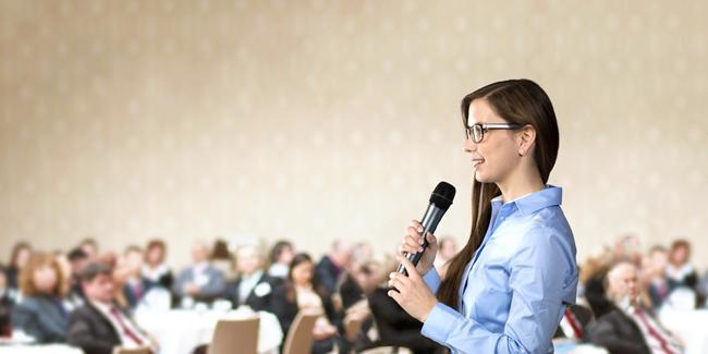 business woman at seminar